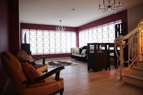 Experiments in art Nouveau style: Salas multimédia modernas por D O M | Architecture interior