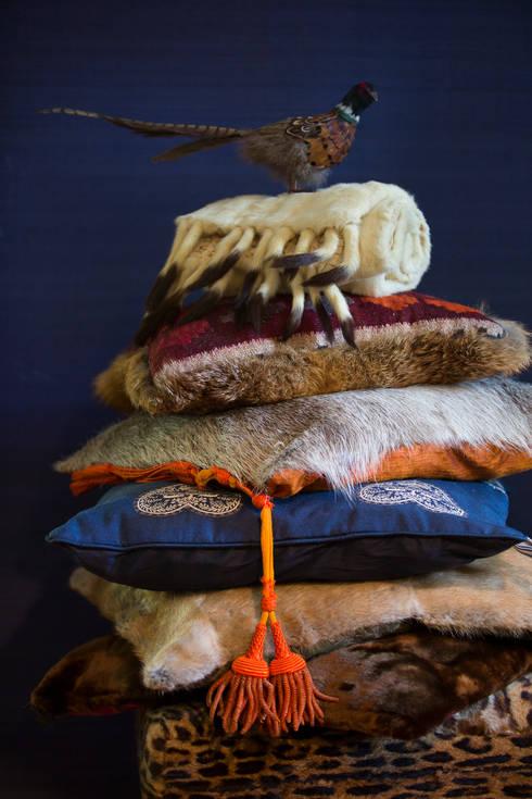 Diverse pluimage aan kussens: klasieke Woonkamer door Furandco