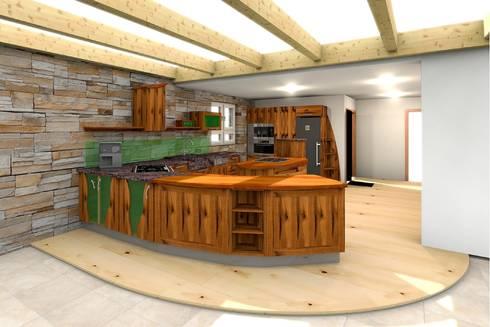 Pfister Küchen altholzküche mit runden möbel in einem umbau pfister