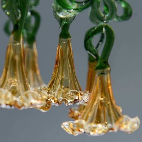 Glass chandelier  with amber flowers and leaves: modern Corridor, hallway & stairs by A Flame with Desire