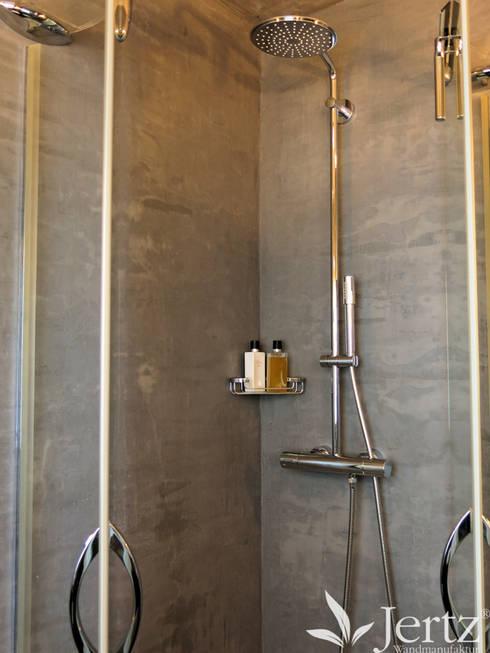 badezimmer ohne fliesen mit marmorputz in travertinoptik. Black Bedroom Furniture Sets. Home Design Ideas