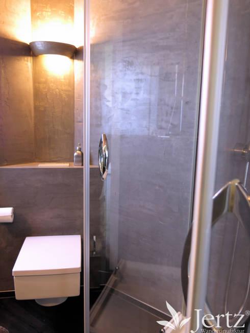 Badezimmer ohne Fliesen mit Marmorputz in Travertinoptik von ... | {Modernes bad ohne fliesen 70}