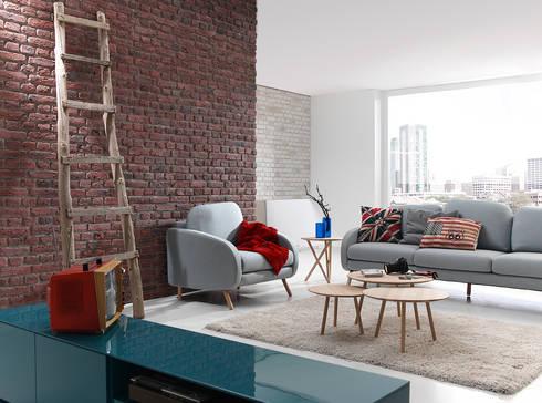 Ladrillo Urban Brick: Salones de estilo moderno de PANELPIEDRA