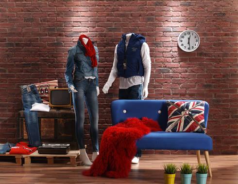 Ladrillo British envejecido: Oficinas y tiendas de estilo  de PANELPIEDRA