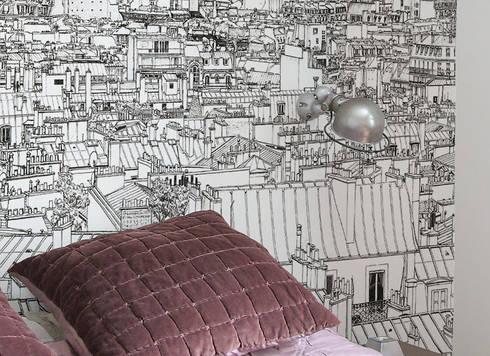 Papier peint Vue de Paris Invalides Tour Eiffel Panoramique par ...