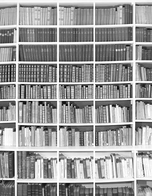 Papier peint bibliotheque noir et blanc par ohmywall homify - Papier peint imitation bibliotheque ...