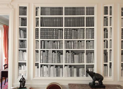 papier peint bibliotheque noir et blanc par ohmywall homify. Black Bedroom Furniture Sets. Home Design Ideas