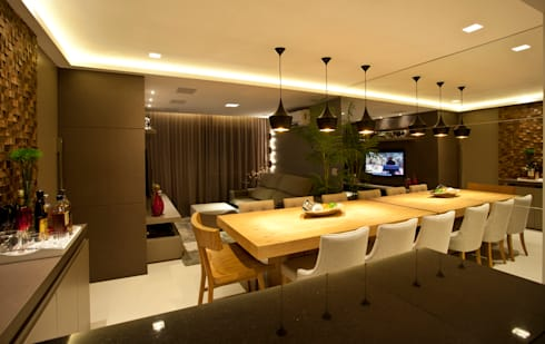 Sala de Estar e Jantar : Salas de estar modernas por Leles Arquitetura e Iluminação