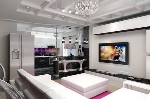 Дизайн гостиной в современном стиле. г. Невинномысск: Гостиная в . Автор – Дизайн студия 'Exmod' Павел Цунев