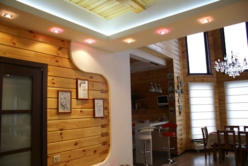 Деревянный дом: Гостиная в . Автор – Студия дизайна