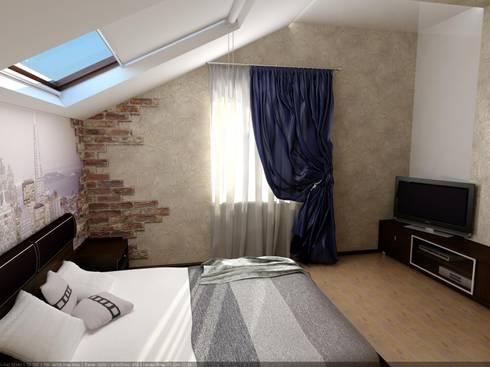 Спальня мансардная: Спальни в . Автор – Дизайн студия 'Exmod' Павел Цунев