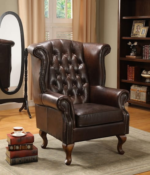 Why Full-grain Leather is Best Choice for Sofa: classic Living room by Locus Habitat
