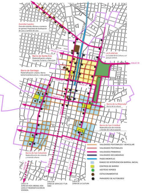 Croquis de conjunto de Paseo Montejo y barrios cercanos y su equipamiento y vialidades:  de estilo  por Arturo Campos Arquitectos