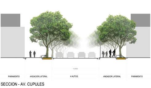 Sección Avenida Cupúles:  de estilo  por Arturo Campos Arquitectos