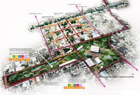 Croquis de la Plancha y sus conexiones vehicular y peatonal.:  de estilo  por Arturo Campos Arquitectos