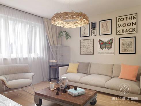 Проект HOME I Гостиная в частном доме: Гостиная в . Автор – Мастерская дизайна Welcome Studio