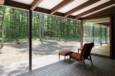 屋根のあるテラス~025軽井沢Sさんの家: atelier137 ARCHITECTURAL DESIGN OFFICEが手掛けたベランダです。