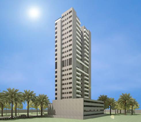 Fachada Oeste do edifício: Casas modernas por DE-H ARQUITETURA