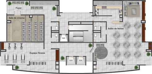 Pavimento Lazer no centro do edifício - 12º andar: Casas modernas por DE-H ARQUITETURA