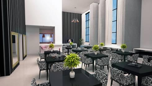 Salão de festas - vista 01: Casas modernas por DE-H ARQUITETURA