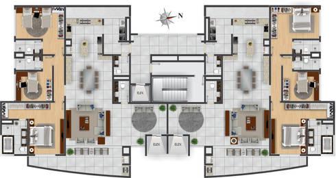Pavimento Tipo: Casas modernas por DE-H ARQUITETURA