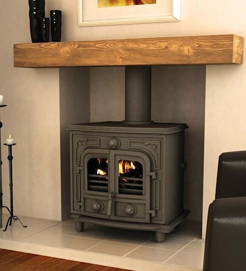 Hillandale Hercules 12B Wood Burning / Multi Fuel Boiler Stove: country Living room by Direct Stoves