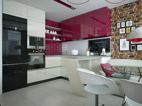 Проект квартиры для молодоженов: Кухни в . Автор – 'PRimeART'