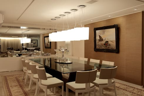 Apartamento Mucuripe: Salas de jantar clássicas por Carlos Otávio Arquitetura e Interiores
