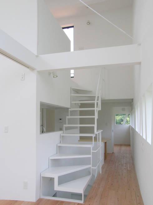 2階から3階へ上がる階段: 株式会社小島真知建築設計事務所 / Masatomo Kojima Architectsが手掛けた廊下 & 玄関です。
