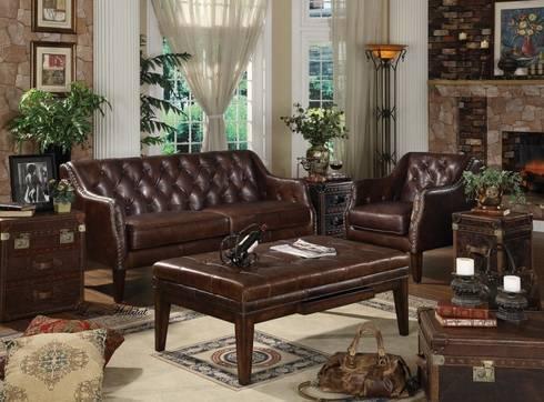 Genuine Leather Sofa Set: classic Living room by Locus Habitat