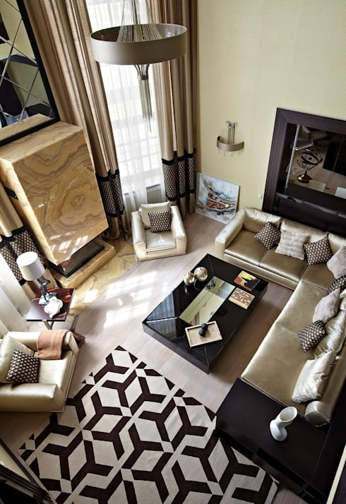 загородный дом 450 кв м: Гостиная в . Автор – mill-studio.ru