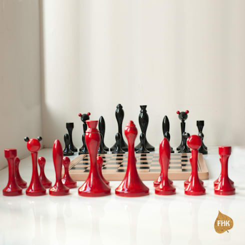 Chess - Red And Indigo: modern Living room by The House of Folklore