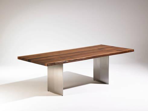 kollektion natura esstisch baumkante waldkante naturkante nussbaum mit zinneinlage. Black Bedroom Furniture Sets. Home Design Ideas