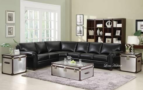 Leather Black Sofa: modern Living room by Locus Habitat