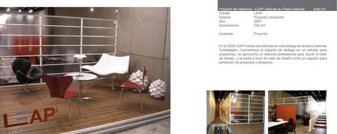 Oficinas LEAP: Oficinas y tiendas de estilo  por LEAP Laboratorio en Arquitectura Progresiva