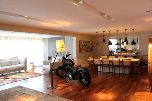Sala de estar/jantar/varanda: Salas de estar modernas por Nataly Aguiar Interiores