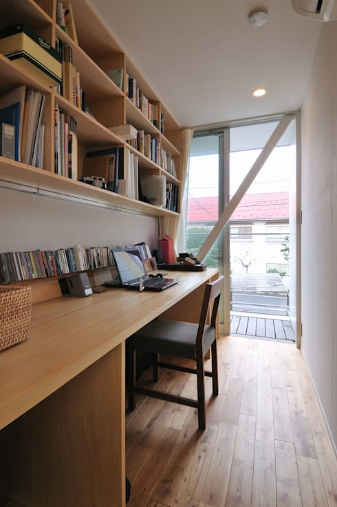 modern Study/office by 岡村泰之建築設計事務所