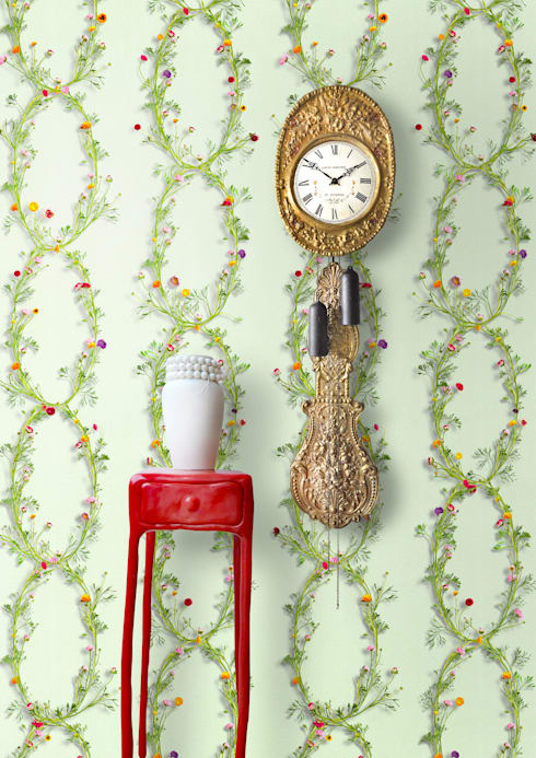 Wallpaper Ranunculus Verde: klasieke Woonkamer door Snijder&CO