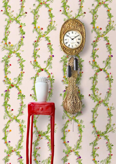 Wallpaper Ranunculus Rose: landelijke Woonkamer door Snijder&CO