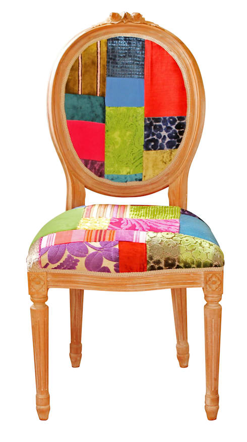 'Ready to Go' patchwork chairs available for sale at http://www.kellyswallow.com/products/:  Dining room by Kelly Swallow