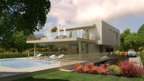 Pespectiva 3D: Casas minimalistas por Ana Viegas