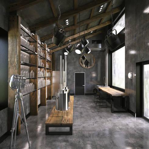 алкохаус: Рабочие кабинеты в . Автор – Архитектурное бюро и дизайн студия 'Линия 8'