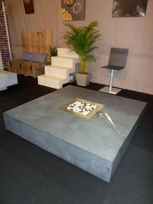 Table bari avec chemin e l 39 thanol par interieur for Table exterieur imitation beton