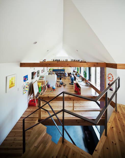 デッキの様子も伺える将来3室に間仕切れる子供部屋: UZUが手掛けた子供部屋です。