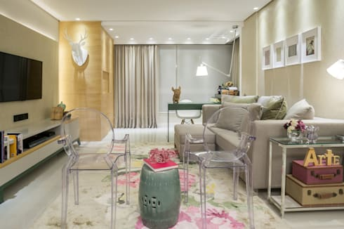 Projeto 12 – Residência Clean: Salas de estar modernas por GREISSE PANAZZOLO ARQUITETURA