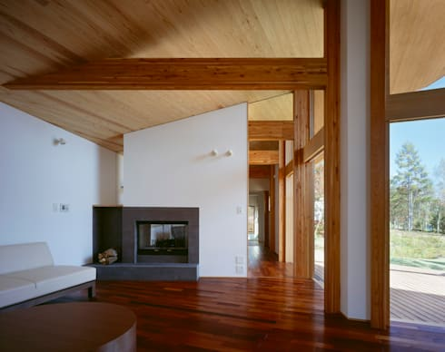 Villa Boomerang / 八ヶ岳の別荘: 森吉直剛アトリエ/MORIYOSHI NAOTAKE ATELIER ARCHITECTSが手掛けたリビングです。