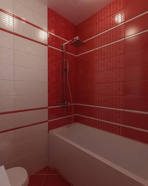 Бело-красная ванная: Ванные комнаты в . Автор – Efimova Ekaterina