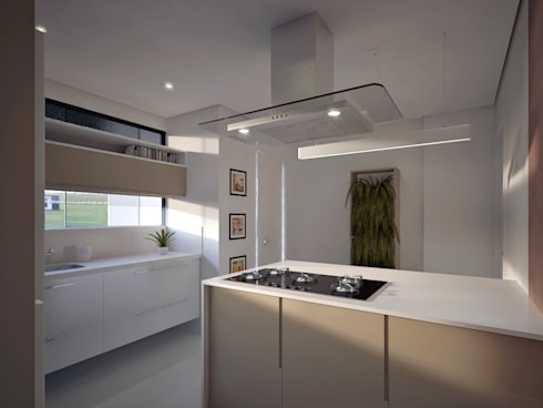 Residência FC+: Cozinhas modernas por Quattro+ Arquitetura