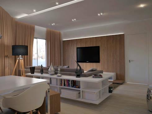 Residência FC+: Salas de estar modernas por Quattro+ Arquitetura