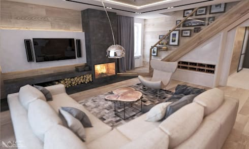 Дом в <q>Березках</q>/ гостиная: Гостиная в . Автор – Студия архитектуры и дизайна artugol